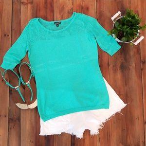 Express teal sweater short sleeve